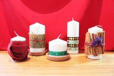Velas para decorar en Navidad Pillar Candles, Silver, Christmas, Ideas, How To Earn Money, Center Pieces, Navidad, Manualidades, Yule