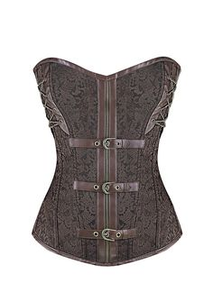 727ed0a7fe Burvogue Brown Leather Bustier Gothic Steampunk Overbust Corset Tops Gothic  Corset