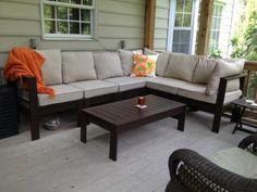 First Project! Outdoor Sectional with Coffee Table   Do It Yourself Home Projects from Ana White