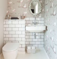 Bathroom - not this wallpaper but white tiles and patterned wallpaper!