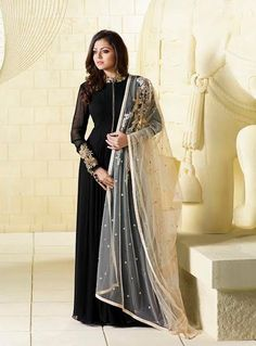 Drashti Dhami Black Georgette Floor Length Anarkali Suit 82811