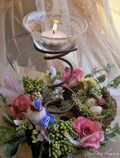 Votive Bed Spring Flora Centerpiece by JoDee Luna, via Flickr