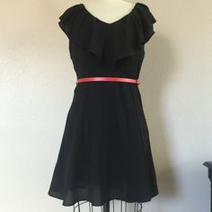 Clasic black dress Beautiful chic dress  worn once for pictures. Shell and lining 100% polyester.  This is a Junior Large or an Adult  S/M, comes with belt, belt has some wear to it.   ‼️Please see measurements as not all sizes are the same‼️ ✅will Bundle ✅ ✅ all reasonable offers will be considered No Trading  Poshmark rules only‼️ Measurements taken laying flat ️️Ⓜ️ waist 15  Ⓜlength from shoulder 43 Ⓜ️chest armpit to armpit 19 1/2 Forever 21 Dresses Mini