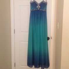 Prom dress Teal and Royal blue ombré with jewels at the bust Cachet Dresses Prom