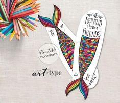 Mermaid Quarantine Home Craft Printable Coloring Page Bookmark Creative Bookmarks, Cute Bookmarks, Bookmark Craft, Handmade Bookmarks, Printable Bookmarks, Corner Bookmarks, Crochet Bookmarks, Paper Bookmarks, Valentines Bricolage