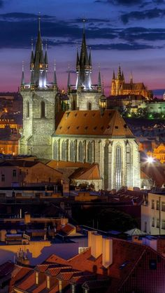 Prague at night. View to Church of Our Lady before Tyn