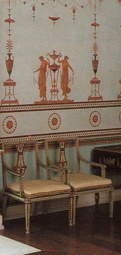 Etruscan Room at Osterley with painted chairs and decor designed by Scottish Neoclassical architect Robert Adam