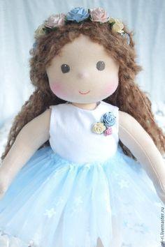 Купить Старшая сестричка - голубой, вальдорфская кукла, вальдорфская кукла купить, текстильная кукла