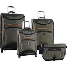 Timberland Route 4 Olive 4 Piece Spinner Luggage Set 1360 Value for sale online Best Luggage, Luggage Sets, Mens Travel Bag, Timberland, Shopping, Suitcases, Packing, Duffel Bags, Exterior