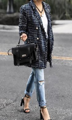 a99cb6be0 15 Best tweed blazer outfit images in 2017 | Woman fashion, Fall ...