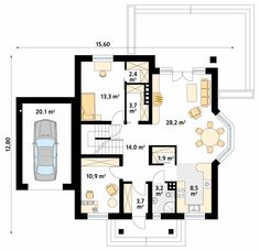 Wilga 4 projekt domu - Jesteśmy AUTOREM - DOMY w Stylu Floor Plans, House Design, Case, Fur, Projects, Furs, Architecture, Home Design, Fur Coat