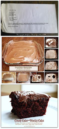 Crazy Cake- no eggs, butter, or milk Done- super easy and really yummy. We ate it with powdered sugar sprinkled on the top.