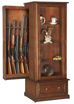 What man would not love this Gun Cabinet Curio Combination for his man cave. Hidden behind the tempered glass curio display area is a sliding cabinet that accommodates your collection of up to 10 rifles or shotguns to keep them safely out of sight and reach of little ones. It's both a beautiful addition to any  room and an inconspicuous firearm storage solution. The slider lock is exclusively designed inside the curio display and additional storage is provided behind the lower locking door.