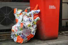 Heartless Bag is a sculptural representation of the human heart. Made entirely from recycled and unused plastic bags- ironed and then stitched together. It takes up to 100 years for plastic bags to bio degrade in landfill if they are exposed to sunlight. The average life span in 2012, in the UK, was 81.5 years.This piece explores the idea that humans are likely to die long before the plastic bags they have used in their lifetime have broken down in landfill sites.