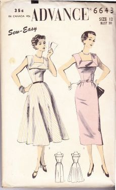 Advance 6643 - Ladies dress vintage sewing pattern from the 1940's.  Pattern is cut & complete.