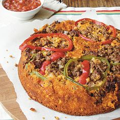 Upside-Down Salsa Cornbread ~T~ This is a meal in it's self, ground beef, cheese, vegies and salsa.