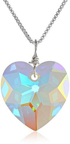 "Sterling Silver Swarovski Elements Crystal Aurora Borealis Heart Pendant Necklace, 18"" Amazon Curated Collection http://www.amazon.com/dp/B003ZK6K38/ref=cm_sw_r_pi_dp_SYlEub0PHS0QG"