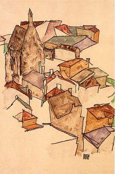 Egon Schiele (Austrian, 1890-1918) ♥ Inspirations, Idées & Suggestions, JesuisauJardin.fr, Atelier de paysage Paris, Stéphane Vimond Créateur de jardins en ville #art #Painting #landscape #Peinture #peintre #paysage #paysagiste ♥