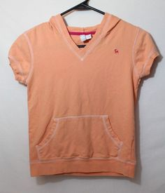 5d828696aac30b Old Navy Girls Hooded Tee Size XL Peach Short Sleeve Hoodie Front Pocket V  Neck