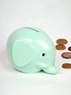 Little Aqua Elephant Penny Bank. Mint Color, Mint Green, Cute Piggies, Elephant Love, Money Box, Mint Chocolate, Shops, Baby Love, Favorite Color