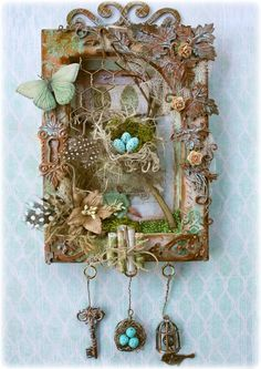 Mixed Media Nature Canvas VideonTutorial by Gabrielle Pollacco using Dusty Attic Chipboard