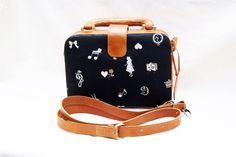 Alice in Wonderland Bag - Brown Briefcase Leather Black Cotton