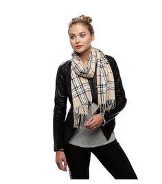 "Fashionable Beige Check Oblong Scarf Ladies 12 x 71"" 100% Acryl - LA COQUETA…"