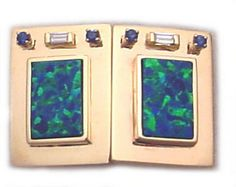 Custom Opal Cufflinks with Diamonds and Blue Sapphires Yellow Gold Hand Made