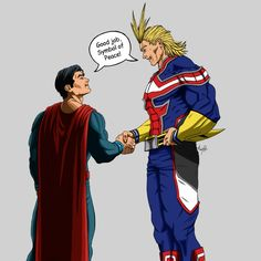 Toshinori Yagi / All Might & Clark Kent / Superman (My Hero Academia & DC Comics) My Hero Academia Episodes, My Hero Academia Memes, Hero Academia Characters, My Hero Academia Manga, Anime Characters, Best Crossover, Fandom Crossover, Anime Crossover, Saitama Vs Superman