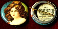 OLD PERFECTION CIGARETTES PRETTY LADY PIN BACK BUTTON 2