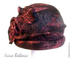 Купить Валяная шапочка Ноктюрн - черный, шляпка, шляпа, шапка, черная шапка, черная шляпка