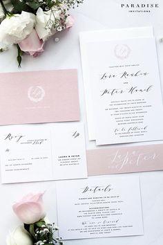 Lara Peach Modern Calligraphy Wedding Invitation Sets