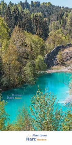The blue lake in the Harz is turquoise blue in spring Holidays Germany, Wanderland, Blue Dream, What A Wonderful World, Outdoor Travel, Wonders Of The World, Places To See, The Good Place, Natural Beauty