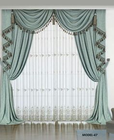 23 Stunning Concepts For Living Room Decor Curtains, Swag Curtains, Curtains And Draperies, Luxury Curtains, Home Curtains, Green Curtains, Valances, Decor Room, Unique Curtains