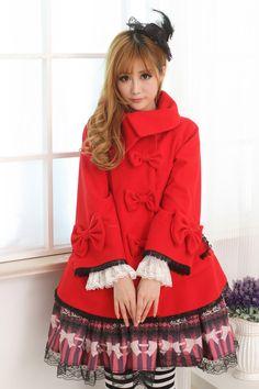 Polyeaster Red Short Sweet Bride Lolita Coat with Bowknot Buckles Lolita Fashion Customize $100.00 #Lovejoynet  #Lolita