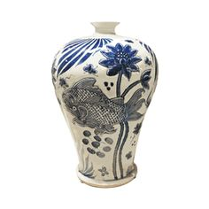 """New Arrival From Jingdezhen China: 18"""" Dia Chinese Blue & White Embossed Porcelain Koi Pond Prunus Vase * Only Few Available"""