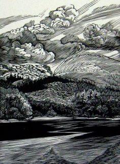 """Otter Cove,"" wood engraving, 4 5/8"" x 3 3/8"" by Siri Beckman"