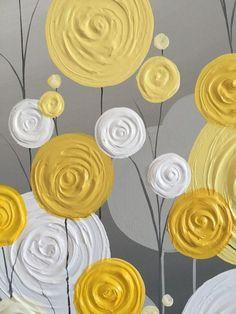 Yellow Gray and White Textured Flower Art by MurrayDesignShop #ModernGarden