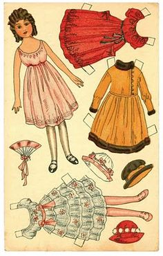No description beyond 'pretty in pink' {} Could be from 1920s or 1930s.or even 1940s or 50s. Length of garments and girls wore hats into the 1950s. {} Postcard Paper Doll