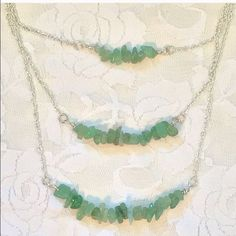 New Handcrafted 3-Strand Silver & Jade Necklace