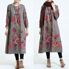 Winter Flower Long Sleeves Thickening Dress