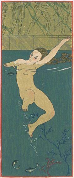 """Illustrations by George Barbier (1882-1932), 1922, Le bain, """"Les chansons de Bilitis"""", woodcuts by F.L.. Schmied, text by Pierre Loüys, Collection Pierre Corrard, Paris."""