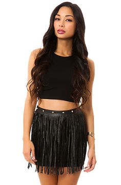 Reverse Skirt The Faux Leather Fringe in Black
