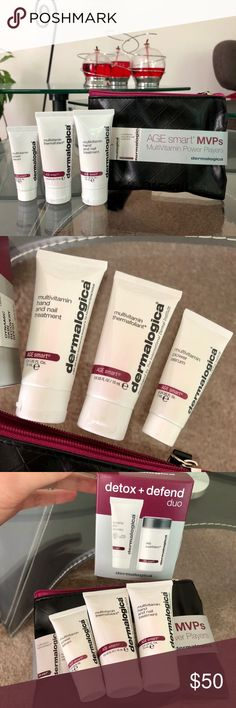 AgeSmart Multivitamin Power Kit - dermalogica NEW. dermalogica AgeSmart Multivitamin Power Players Travel Kit (Value $68). Yours for only $50!  Includes Multivitamin Thermafoliant, Multivitamin Power Serum, Hand and Nail Treatment. Products come inside a travel pouch.  *Receive a NEW AgeSmart Duo Kit (travel size) (Value $48) and a sample of Multivitamin Power Firm for your eyes for FREE! dermalogica Makeup