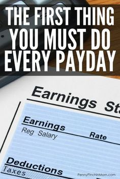 The First Thing You Must Do Every Pay Day - Finance tips, saving money, budgeting planner Budgeting Finances, Budgeting Tips, Best Money Saving Tips, Saving Money, Money Tips, Money Budget, Budget Help, Planning Budget, Budget Planner