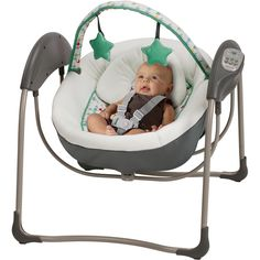 Comfort your little one wherever you are with the Graco Glider Lite Swing. The Glider Lite's six gliding speeds mimic the soothing cuddling motions that baby loves while in your arms, but from the com Plug In Baby Swing, Baby Swing Set, Portable Baby Swing, Kids Swing, Graco Baby Swing, Baby Glider, Gliders, Baby Gear, Prams