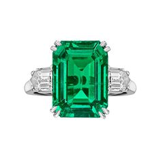 8 Carat ct GIA Emerald Cut Natural Colombian Green Emerald & Diamond Ring 18k #Customjewelry #GemstoneDiamondRing