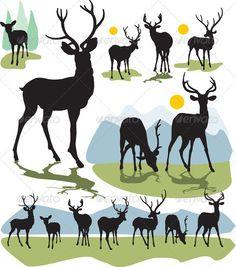 Set vector deer silhouettes $2.00