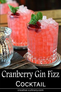Cranberry Gin Fizz Cocktail This is my favorite cocktail from the beginning of Fall all the way through the Holidays. So pretty and festive and with fantastic seasonal flavors, the Cranberry Gin Fizz Cocktail does not disappoint! Cranberry Cocktail, Cranberry Ginger Ale, Cocktail Fruit, Gin Fizz Cocktail, Ginger Fizz, Vodka Cocktails, Cocktail Recipes, Cocktail Ideas, Gastronomia