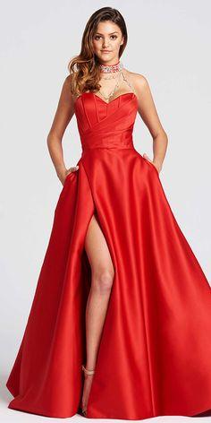 Splendid Satin High Collar Neckline A-line Prom Dress With Beadings & Pockets